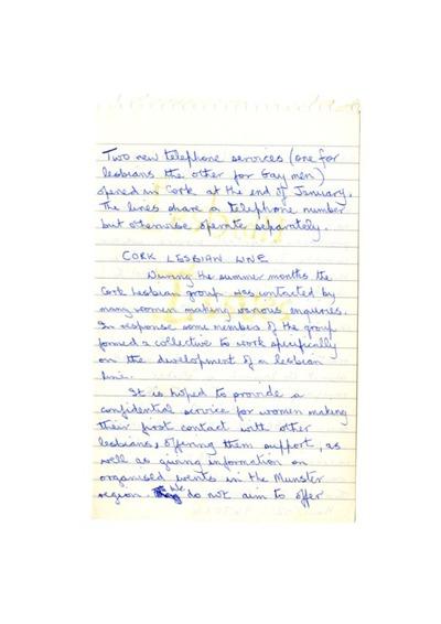 1985 Notes Cork Lesbian Line