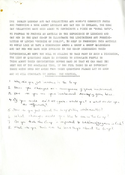 Request for participation for discussion on lesbians and gay men in the Quay Co-op 1980s