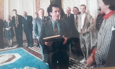 Kieran Rose with President Mary Robinson Áras an Uachtaráin December 1992