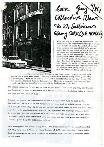 1984 Cork Gay Collective Information