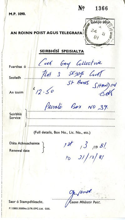 1981 Receipt for P.O. Box for Cork Gay Collective