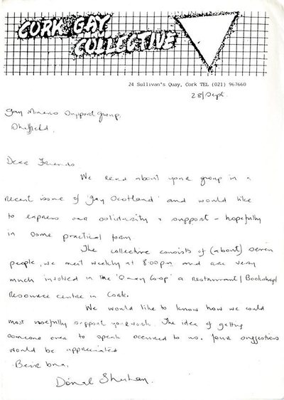Cork Gay Collective letter to Gay Miners Support Group