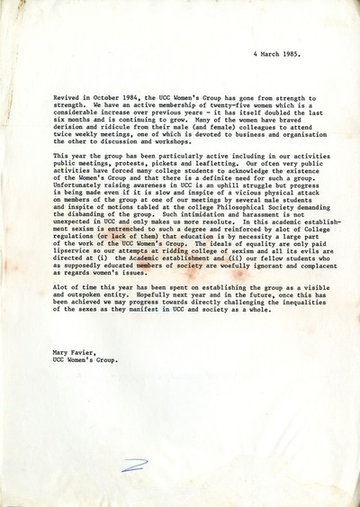 1985 UCC Women's Group Report