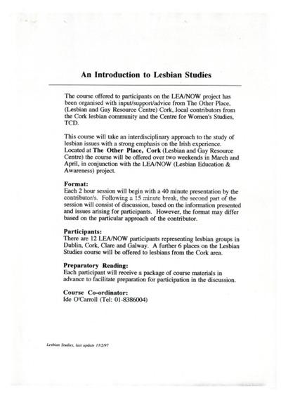 1997 Introduction to Lesbian Studies Course Cork