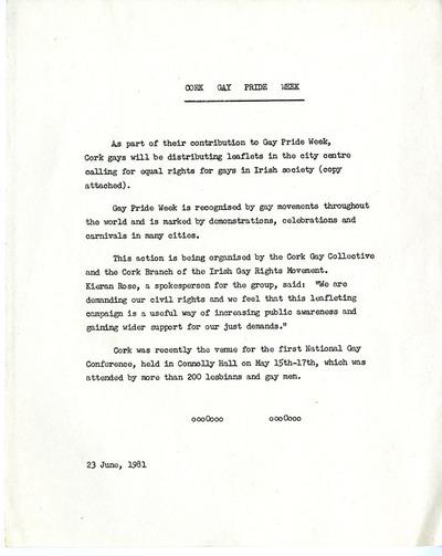 1981 Cork Gay Pride Week notice of leafleting