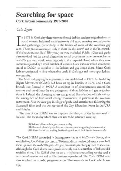 Orla Egan Searching For Space Cork Lesbian Community 1975-2000