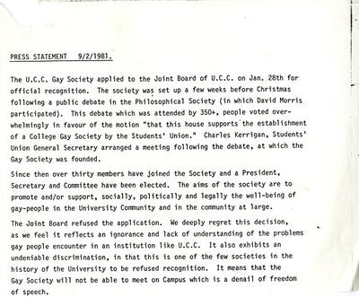 1981 UCC Gay Soc Press Release