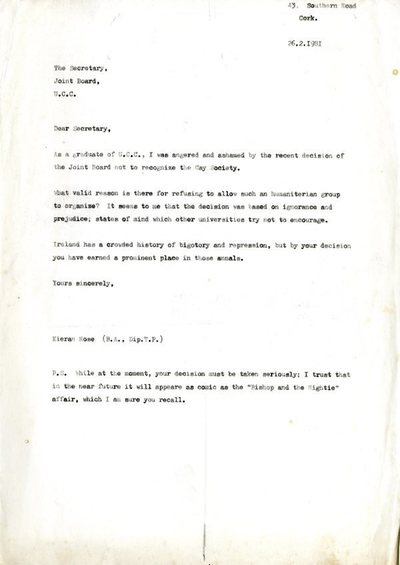 Kieran Rose 1981 Letter Protesting Non-Recognition of UCC Gay Soc