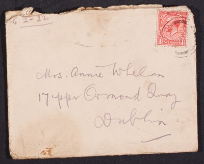 Letters from James Whelan to his wife Annie.