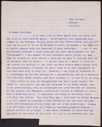 Letter from Thomas MacDonagh to James Whelan.