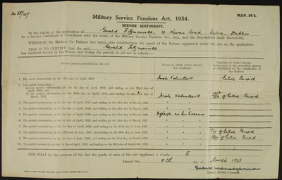 Military Service Pensions Act 1934, Gerald Fitzmaurice certificate of service