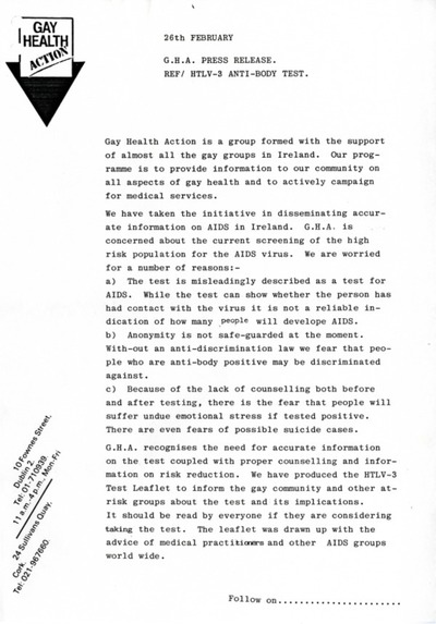 1986 Gay Health Action Press Release