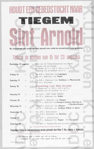 Noveen Sint-Arnold, Tiegem, 15-23 augustus : aankondiging van het programma van de gebedstocht met toespraken door Frans Vos