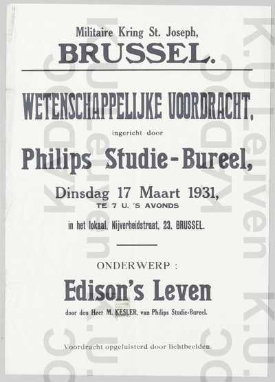 CSSR, militaire kring Sint-Jozef, wetenschappelijke voordracht door Philips Studie-Bureel, Brussel, 17 maart 1931 : aankondiging van de voordracht 'Edison's Leven' door M. Kesler