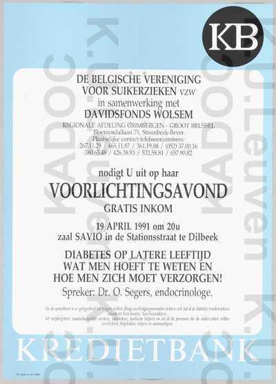Davidsfonds Dilbeek-Wolsem, Belgische Vereniging voor Suikerzieken, voorlichtingsavond over diabetes op latere leeftijd door O. Segers, Dilbeek, 19 april 1991 : aankondiging.