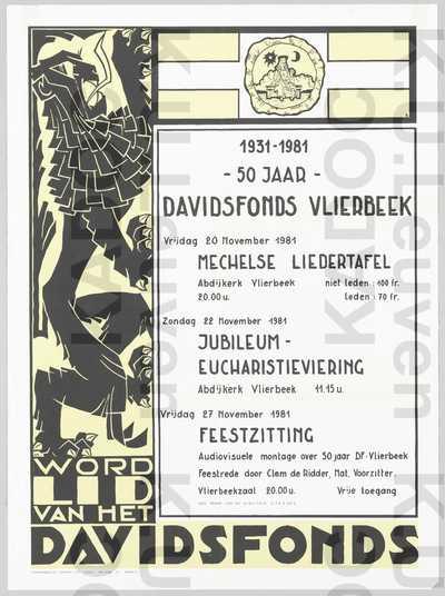 Davidsfonds, Vlierbeek, viering 50 jarig bestaan 1931-1981, Vlierbeek, 20-22-27 november 1981 : aankondiging.
