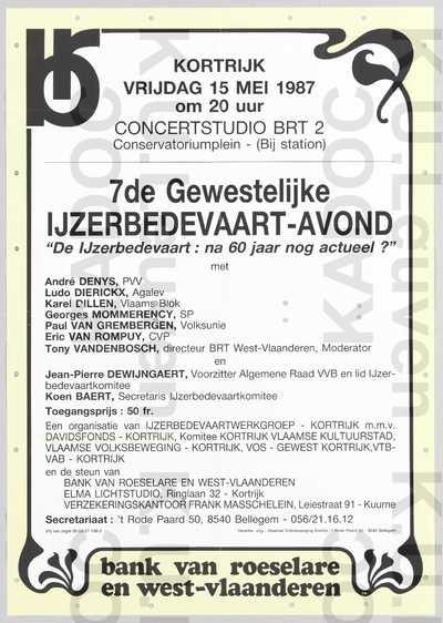 Davidsfonds Kortrijk, IJzerbedevaartwerkgroep, Komitee Kortrijk Vlaamse Kultuurstad, VVB, VOS, VTB-VAB, gewestelijke IJzerbedevaart-avond, 7de, Kortrijk, 15 mei 1987 : aankondiging.