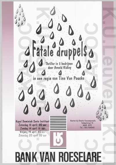 't Amateurke, thriller 'Fatale druppels' door Arnold Ridley met regie van Tine Van Poucke, Gits, 13-14-19-20 april