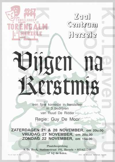 Toneelgroep Torengalm, opvoering van 'Vijgen na Kerstmis', Herzele, 21-22-27-28 november (2000)