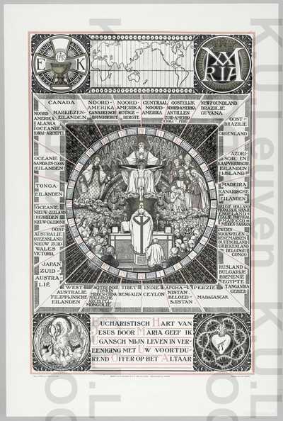 Eucharistische Kruistocht : kaart met de te bekeren missiegebieden