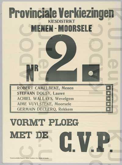 CVP, provincie West-Vlaanderen, district Menen-Moorsele, provinciale verkiezingen van 26 maart 1961 : lijst met de kandidaten, slogan 'Vormt ploeg met de CVP' en lijstnummer 2