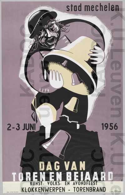 Dag van Toren en Beiaard, Mechelen, 2-3 juni 1956 : 'Kunst-, volks- en avondfeest, klokkenwerpen, torenbrand'