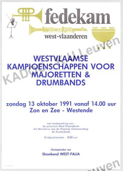 Fedekam West-Vlaanderen, Westvlaamse kampioenschappen voor majoretten en drumbands, Westende, 13 oktober 1991 : aankondiging