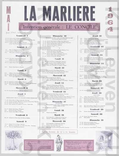 La Marlière, mei 1964 : aankondiging van de kerkdiensten