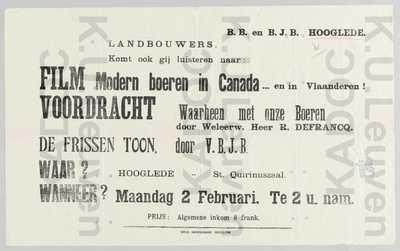 BB, BJB, Hooglede, film 'Modern boeren in Canada... en in Vlaanderen' en voordracht 'Waarheen met onze boeren' door R. Defrancq, Hooglede, 2 febr. : aankondiging