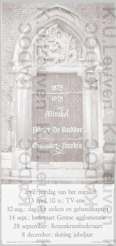 Oostakker-Lourdes, viering 100 jaar mirakel Pieter De Rudder, april-december 1975 : aankondiging van het programma
