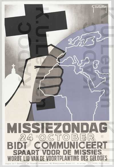 PMW, missiezondag, 24 oktober 1937 : 'Bidt, communiceert, spaart voor de missies. Wordt lid van de voortplanting des geloofs'