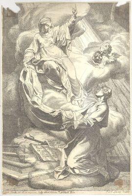 Maria overhandigt het habijt aan de heilige Norbertus