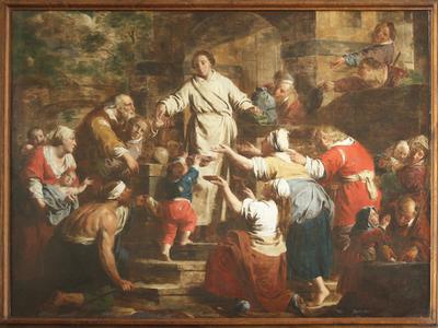 Heilige Norbertus reikt aalmoezen uit