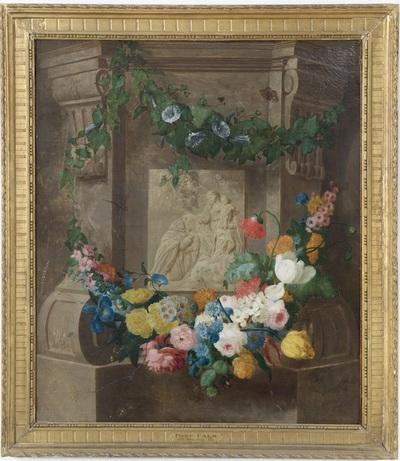 Bloemenstilleven met Maria en kind