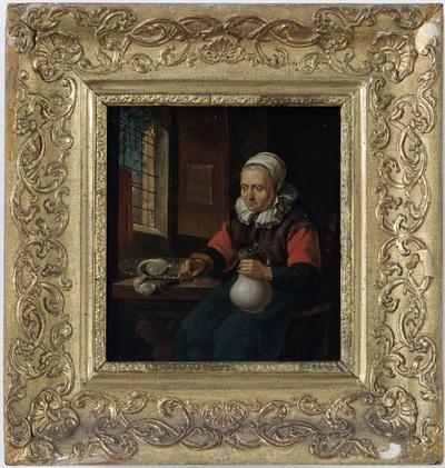 Oude vrouw bij het venster