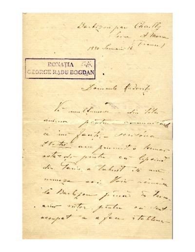 Scrisoare adresata lui Vasile Radovitz directorul Eforiei bisericii Kretzulescu
