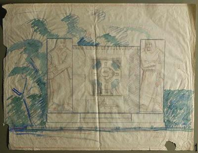 Sketch for the monument at the burial site of the Bearers of the Cross of Liberty