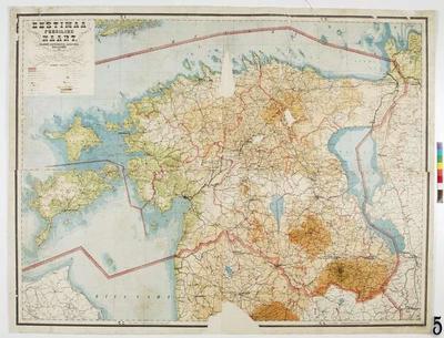 Physical map of Estonia: 1:300 000