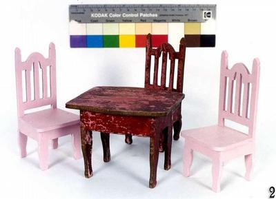 Doll furniture: table and chair