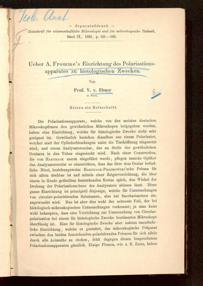 Ueber A. Fromme's Einrichtung des Polarisationsapparates zu histologischen Zwecken