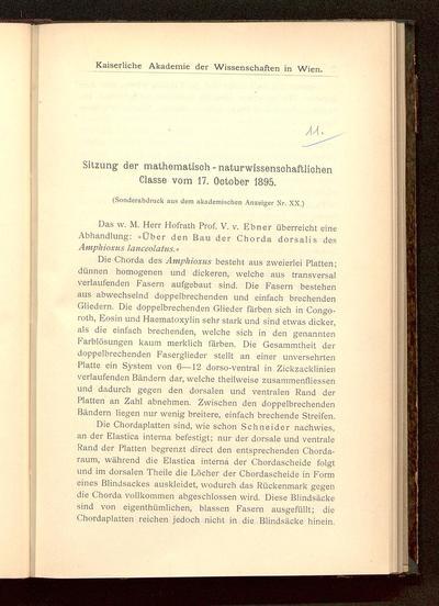 Sitzung der mathematisch-naturwissenschaftlichen Klasse vom 17. Oktober 1895 : das w. M. Herr Hofrath Prof. V. v. Ebner überreicht eine Abhandlung: Über den Bau der Chorda dorsalis des Amphioxus lanceolatus ...