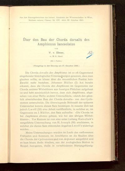 Über den Bau der Chorda dorsalis des Amphioxus lanceolatus : (vorgelegt in der Sitzung am 17. October 1895)