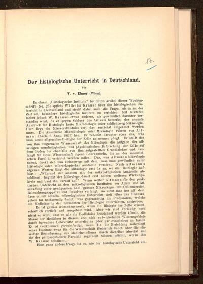 Der histologische Unterricht in Deutschland