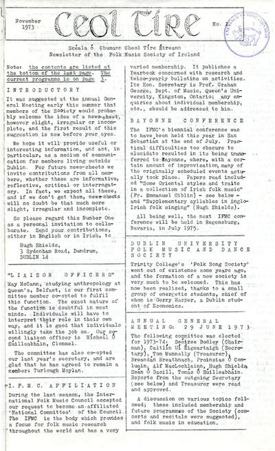 Ceol Tíre 1, November 1973