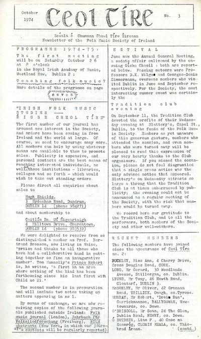Ceol Tíre 3, October 1974