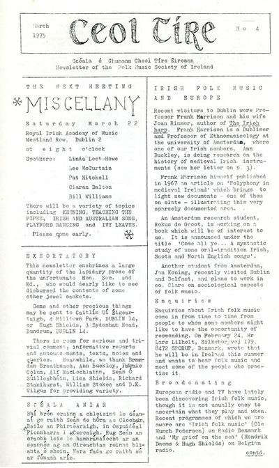 Ceol Tíre 4, March 1975