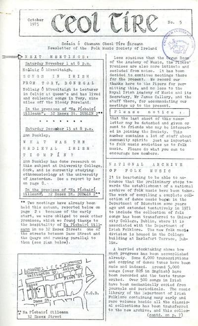 Ceol Tíre 5, October 1975