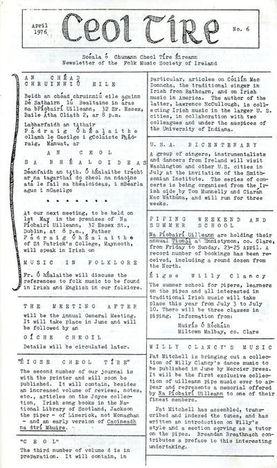 Ceol Tíre 6, April 1976