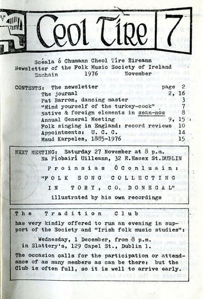 Ceol Tíre 7, November 1976
