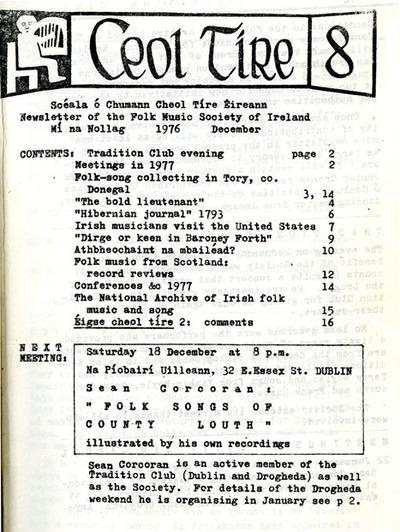 Ceol Tíre 8, December 1976